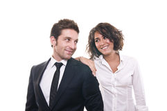 Portrait of a business team. Isolated on a white background royalty free stock photos