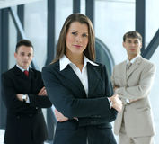 Portrait of a business team in an office stock photo