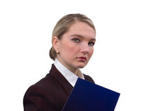 Portrait of the business woman. With a dark blue folder. Isolated on white Royalty Free Stock Image