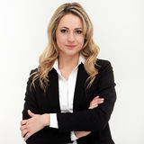 Portrait of business woman in black suit Stock Photography