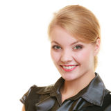 Portrait business woman boss or student girl. Portrait of young businesswoman boss beautiful blonde woman student girl isolated on white. Business worker stock photos