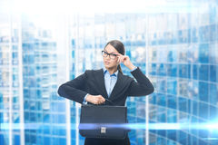 Portrait of business woman with case stock photos