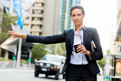 Portrait of business woman catching taxi Royalty Free Stock Photography
