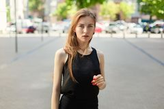 Portrait of a business woman on a city background.  Royalty Free Stock Photos