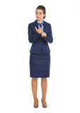 Portrait of business woman counting on fingers Royalty Free Stock Image