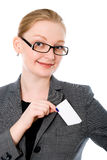 Portrait of a business woman with a credit card Royalty Free Stock Photos