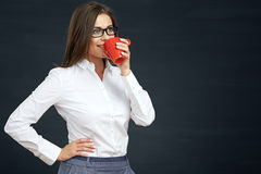 Portrait of business woman drinking coffee Stock Image