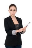 Portrait of the business woman with folder Royalty Free Stock Photography