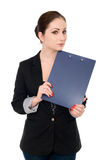 Portrait of the business woman with folder Royalty Free Stock Images