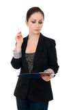 Portrait of the business woman with folder Stock Photography
