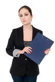 Portrait of the business woman with folder Stock Photos
