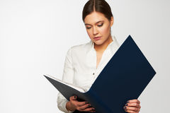Portrait of  business woman with  folder Royalty Free Stock Image