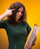 Portrait of  business woman with  folders Stock Images