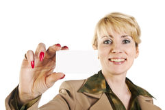 Portrait of business woman giving blank business card Royalty Free Stock Images
