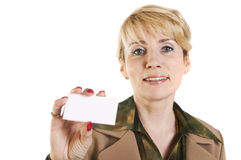 Portrait of business woman giving blank business card Royalty Free Stock Photography