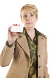 Portrait of business woman giving blank business card Royalty Free Stock Photo