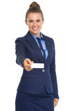 Portrait of business woman giving business card Royalty Free Stock Images