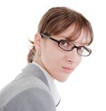 Portrait of a business woman in glasses. On white background Royalty Free Stock Photography