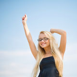 Portrait of a business woman with glasses. Portrait of a beautiful woman outdoors royalty free stock photography