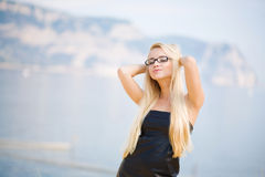 Portrait of a business woman with glasses. Portrait of a beautiful woman outdoors stock photo