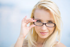 Portrait of a business woman with glasses Royalty Free Stock Photo