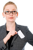 Portrait of business woman in glasses with a credit card Royalty Free Stock Photography