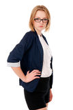 Portrait of business women in glasses. The hand on the belt. Royalty Free Stock Image