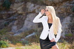 Portrait of a business woman with glasses outdoors royalty free stock image