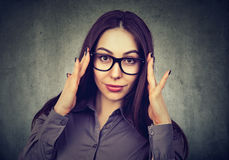 Portrait of a business woman in glasses royalty free stock photos
