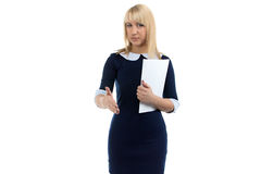 Portrait of business woman and handshake Royalty Free Stock Photo