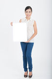 Portrait of business woman hold blank sign Stock Photography