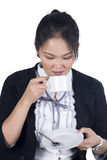 Portrait of business woman hold cup of coffee Stock Image