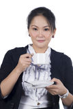 Portrait of business woman hold cup of coffee Stock Photo