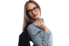 Portrait of business woman holding black jacket Stock Photos
