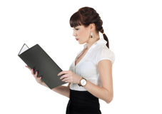 Portrait of business woman holding a folder Royalty Free Stock Photo