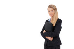 Portrait of business woman holding a folder Stock Photo