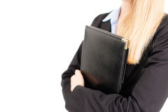 Portrait of business woman holding a folder Stock Image