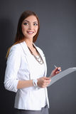 Portrait of a business woman holding  folder , Stock Images