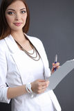 Portrait of a business woman holding  folder , Stock Image