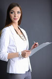 Portrait of a business woman holding folder Stock Image