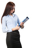 Portrait of a business woman holding folder , Isolated on white Stock Image