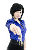 Portrait of a business woman holding keys Stock Image