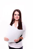 Portrait of business woman keeping document, isolated on white. Stock Photo