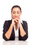 Portrait of business woman looking down Stock Image