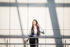 Portrait of business woman in modern business office. Stock Photo