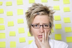 Portrait of business woman with note papers Royalty Free Stock Photography
