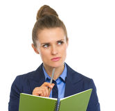 Portrait of business woman with notepad Stock Photography