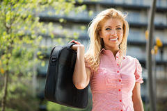Portrait of business woman in the park Royalty Free Stock Photography