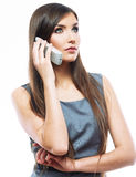 Portrait of business woman phone talking, isolated Royalty Free Stock Photos