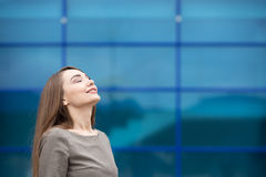 Portrait of business woman relaxing and feeling happy. Copy spac Stock Image
